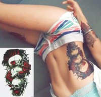 Wholesale Skull and Red Rose Hot Sale21 X CM Temporary Tattoo Stickers Temporary Body Art Waterproof