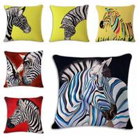 Wholesale colored zebra cushion cover modern creative almofada sofa chair couch throw pillow case cm animal cojines home decor