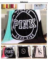 Wholesale Newest Women Pink Love Letter Blanket Manta Fleece Blanket Throws On Sofa Bed Plane Travel Plaids Hot Limited Battaniye cmx160cm