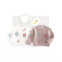 Wholesale Hug Me Girls Sweater Kids Clothing New Spring Knitting Flower Button Cardigan Korean Fashion Kids Sweater EC