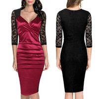 Wholesale New Autumn Winter sexy lace V Neck Empire Sleeve Dresses For Evening Prom