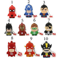 Acheter Cartoon 32gb-Usb Flash Drive Nouveau Pen Drive 32gb Pendrive 16gb 8gb Cartoon Superman Batman Hot Avenger Homme de fer USB 2.0 Memory Stick U disque