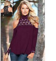 Europa e manica lunga in pizzo spalla perdite cuciture tartaruga-collo maglietta le donne di stile caldo Stati Uniti