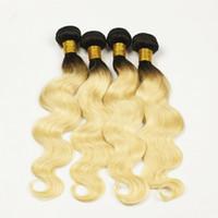achat en gros de 12 pouces cheveux humains deux tons-Ombre Peruvian Hair Weave T1b 613 Couronne Ondulée Ongle Vierge Remy Cheveux Humains Trame Extensions Deux Tonalités 4 Paquets 10-30 Pouces