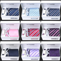 al por mayor gift set for men-Hombres Corbatas anchas Corbatas Masculinas Corbatas Jacquard tejido Corbata Set Corbata Corbatas Hanky Set para hombres Traje de negocios de boda de vacaciones Caja de regalo