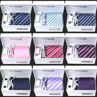 Cheap Neck Tie Set Masculinas Corbatas Jacquard Tie Best Business meeting/wedding/suit wear Striped Cufflink Hanky Ties Set