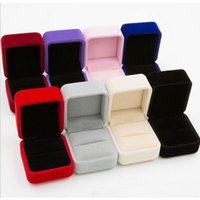 Wholesale High Quality Velvet Engagement Wedding Earring Ring Pendant Jewelry Display Storage Box Case Colors free ship