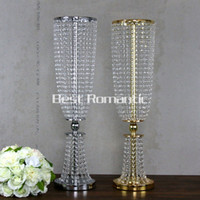 Wholesale 100CM Tall Flower Design Metal Wedding Centerpiece Stand With Crystal Bead Crystal Wedding Centerpiece Flower Candle Holder