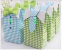 Wholesale Personalized tie with candy box bow tie wedding birthday candy packaging cartons Tied checkered candy bag CM