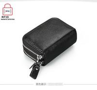 Double Zipper femmes hommes titulaire de carte de crédit Véritable hommes en cuir portefeuille petit sac de carte de visite Vache en cuir portefeuille vache sac à main