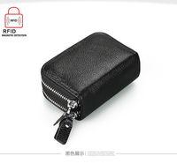 Wholesale Double Zipper Women men Credit Card Holder Genuine Leather men Wallet small Business Card bag Cow Leather wallet cowhide purse