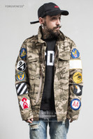 Wholesale High Fashion Hot Sale Mens Camflage Jacket Hided Hood Coat Outerwear Patch Casual Vintage Style Kanye West Style Streetwear
