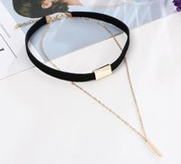 bars deck - European and American fashion vintage simple style double deck vertical bar choker leather necklace ladies decorations