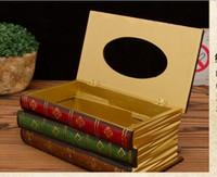 antique music books - European Jingmei book shaped wooden box American retro ornaments European book paper towel box