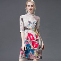 Wholesale Summer wear the new European and American high end mulberry silk printing qipao dress female restoring ancient ways