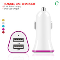 Car Chargers For Chinese Brand None Factory Sales Triangle Dual USB Port car Charger 12 24V 2.1A 1A for Apple iPhone iPad iPod Samsung Galaxy Smartphone Tablet DHL