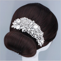 austrian crystal hairbands - 2017 New Hair Jewelry Bridal Flower Hair Comb Austrian Crystal Clear Wedding Hair Accessories For Bridesmaid Bride