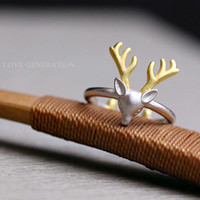 antler design - New Design Pure Sterling Silver Deer Antlers Rings for Women Lovely Girls Christmas Gift Statement Jewelry Adjustable Size Ring