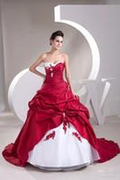 abendkleider brautkleider - Robe de mariage Heiße Verkäufe Schatz Sweep Zug Ballkleid Taft Applique Rüschen Weiß und Rot abendkleider Brautkleider