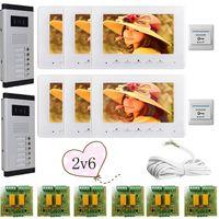 Wholesale 2 Doors Buttons Infared CCD Camera Color quot HD lines Video Door Phone Intercom Doorbell Monitors In Stock