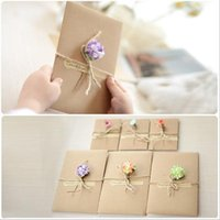 Wholesale Creative DIY vintage kraft paper handmade dried flower greeting card Christmas New Year blessing universal card