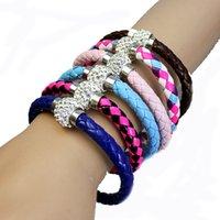 Wholesale Hot Sale PU Leather Bracelet Shamballa CZ Disco Crystal Bracelet Fashion Magnetic Clasp Bracelet Wristband Jewelry