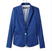 Precio de Solo botón abrigos negros-Candy Colors 2016 Blazer de la Mujer Traje con un solo botón Celebrity Negro Menta Rosa Azul naranja amarillo Damas abrigo de la chaqueta