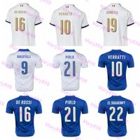 Wholesale Top Thai quality Italy Home blue Soccer jersey Italia ZAZA INSIGNE EL SHAARAWY PIRLO VERRATTI MARCHISIO Away white v