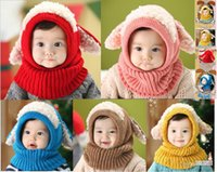 baby hat with ears pattern - Winter Kids Hat Scarf Set scarf hat pattern Cotton Baby Girl Boy Wool Warm Hats Caps with ears cute hat neckwarmer Kids Neck Wrap Scarf Hats