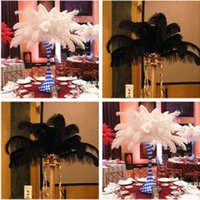 Wholesale Beautiful inch cm Black White Ostrich Feather Plume for Wedding centerpieces table party decoration C001