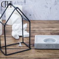 Wholesale DH Industrial style candle holder concrete basement tealight holder home candle stand decoration candle stick wedding decor