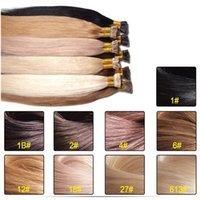 Wholesale 50g Keratin Stick I tip Human Hair Extensions Colors Human Remy Hair Straight Brazilian Human Virgin Hair Extension