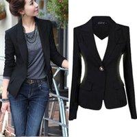 Precio de Solo botón abrigos negros-Chaqueta de la chaqueta de la chaqueta de la chaqueta de la chaqueta de la nueva manera S-3XL Chaqueta negra ocasional de la capa Chaqueta del botón Mujer Blaser Mujer Femenino