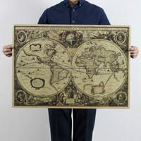 Paper antique bedroom decor - World Map Nautical Ocean Sea maps vintage Kraft Paper Poster Wall Chart Sticker Antique Home decor Map World x51cm