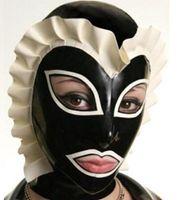 achat en gros de bouche masque de sexe féminin-Femmes Sexy Toys Nature Latex Fetish Hoods Girls Latex Mask Hoods Open Mouth Eyes Adult Sex Products Rubber Bondage Hoods