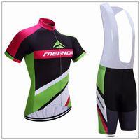 al por mayor ciclismo camisa de mérida-Mérida Verano Ciclismo Jersey manga corta Bicicleta Ropa Bicicleta Ropa Hombres Mountaion Sportwear China Bib Set D1104