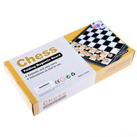 Wholesale 2017 New Portable Chess Game Set Retail Box Checkers Folding Magnetic Chessboard Chess Pieces Set Children Educational Toys Party Game