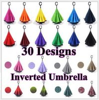 Wholesale 30 Designs Inverted Umbrellas Double Layer C Handle Inverted Umbrella Inside Out Reverse Long Handled Windproof Umbrella CCA5792