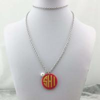 acrylic monogram necklace - Personalized Monogram Vinyl Acrylic Disc Necklace in stock
