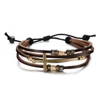 Wholesale Fashion Leather Cross Bracelets Bangles For Men Adjustable Charm Men Chain Jewelry Religious Jesus BL