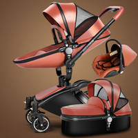 Wholesale Luxury PU Leather in Baby Stroller Pram Pushchair Sleeping Basket Car Seat Rotation Suspension Bidirectional Baby Trolley