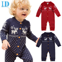 bebe long sleeve - IDGIRL Winter Baby Boy Clothes Knitting Baby Rompers Christmas Thicken Hooded Warm Children Clothes Roupas Bebe JY0316