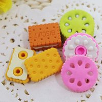 Wholesale pack pencil Eraser Kawaii Cute Square Round Biscuit Donut Rubber Erasers Kids School Supplies Stationery