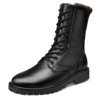 Wholesale Men s Genuine Leather Half Boots Winter Warm Fur Boots Rubber Non slip Black Boots Plus Size