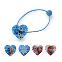 Wholesale 1 pair Elsa Anna Head Rope Hair Band Headwear Heart shaped Female Girls Babys Hair Accessory Hairpin Christmas Gift