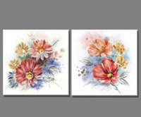 beautiful sketch - 2 Piece Colorful sketch beautiful flower oil painting Canvas Home Decor Wall Painting Art Paintings for living room