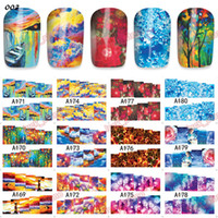 Wholesale 60 chinese style pattern new nail stickers D water transfer nail art stickers Landscape painting Facebook blue and white porcelain