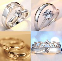 Wholesale Top Grade Silver Couple rings Hot Sale Crystal Charms Lovers Band Ring for Wedding Party Jewelry