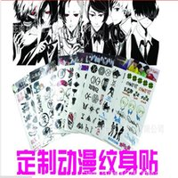 Wholesale sheets Factory direct face to Tokyo Ghoul EXO TF combination Gintama anime white pattern tattoo stickers