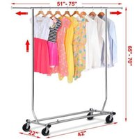 Wholesale Chrome Heavy Duty Stainless Clothing Garment Rolling Collapsible Rack Hanger US